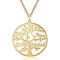 Jessemade Collar con Nombre de Plata de Ley 925, con Nombre Personalizado, árbol de la Vida, Colgante de árbol de la…