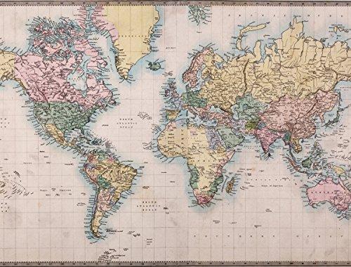 JP London PMURLT2258 Prepasted Removable Wall Mural World Map Global Community, 4' x (4' Mural)