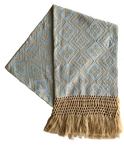 - Alkimia Inc Mexican Handmade Rebozo Shawl (Baby blue), Medium