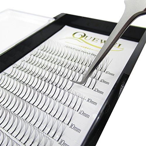 Quewel Lash Russian Volume Eyelash Extensions 3D 5D C D Curl 8-15mm Long Thickness 0.07/0.10 mm Premade Fans Volume Eyelashes Soft (3D-0.10-D, 10mm)