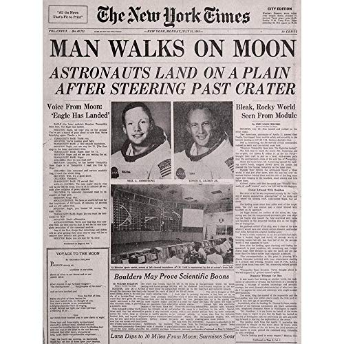 (Wee Blue Coo Vintage Space Newspaper Moon Aldrin Armstrong Unframed Wall Art Print Poster Home Decor Premium)