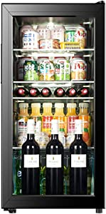 Wine Cooler - Under-Counter Fridge | 100L Beer, Wine & Drinks Fridge | LED Light + Lock and Key | Low Energy A+ (Black)