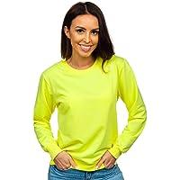 BOLF Mujer Sudadera Cerrada sin Capucha Básica Pulóver de Algodón Jersey Blusa Suéter Liso Sudadera Deportiva Escote…