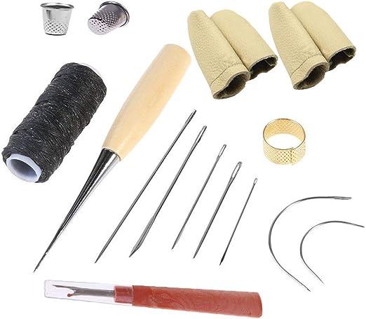 QISF - Kit de reparación de tapicería curvada con agujas de coser a mano con cuero, hilo