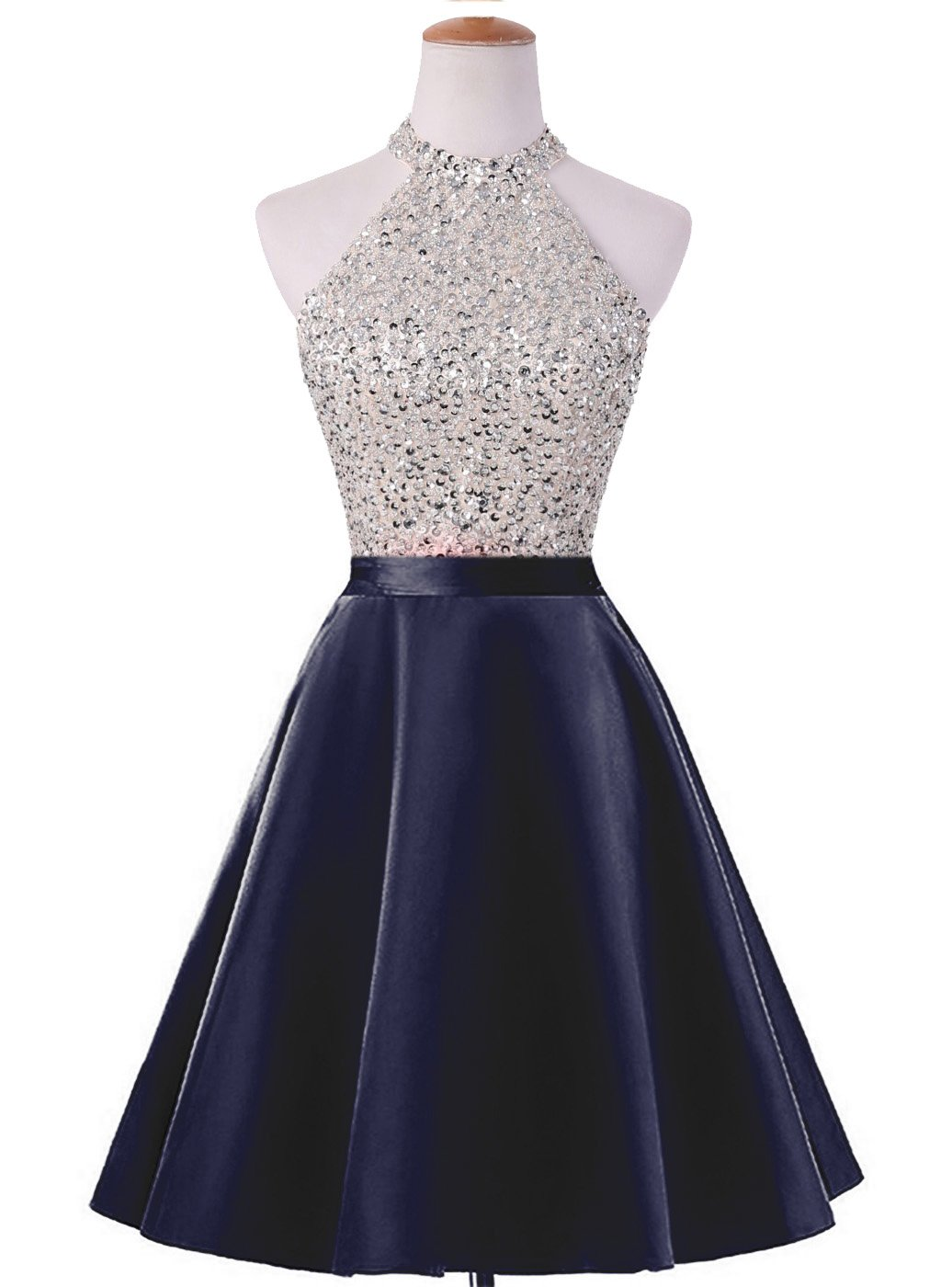 HEIMO Women's Sequined Keyhole Back Homecoming Dresses Beaded Prom Gowns Short H198 16 Navy