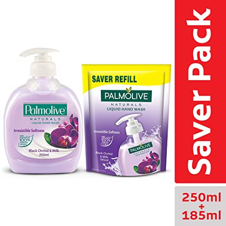 Palmolive Orchid and Milk Black Natural Hand Wash, 250ml with Black Orchid and Milk Doy Liquid Handwash, 185ml