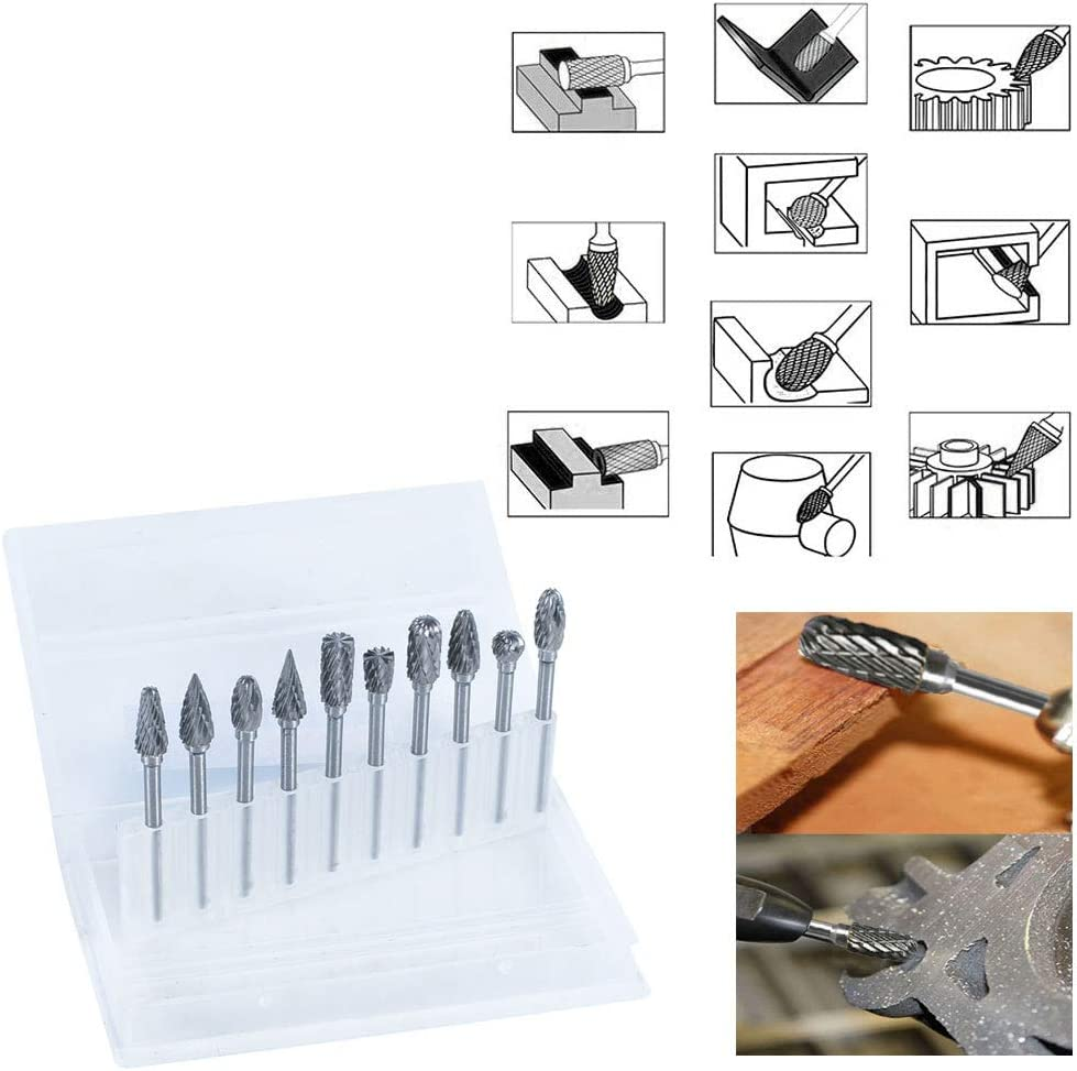 Shank Cutting Burrs for DIY Woodworking Drilling Woodwork Electric Grinding Accessories 3.175mm DAYREE Double Cut Carbide Rotary Burr Set 10 PCS 1//8 Inches Carving