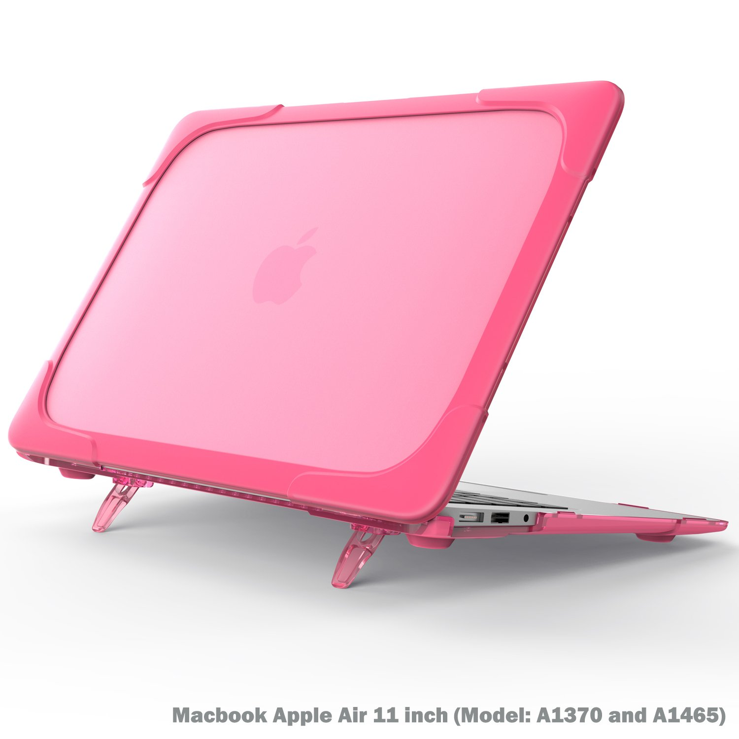 Macbook Air 11 inch Case, Wtiaw[Heavy Duty] Slim Rubberized [Snap on] [Dual Layer] Hard Case Cover with breathe and cool itself freely TPU Bumper Cover for (Model: A1370 and A1465) - Rose Red