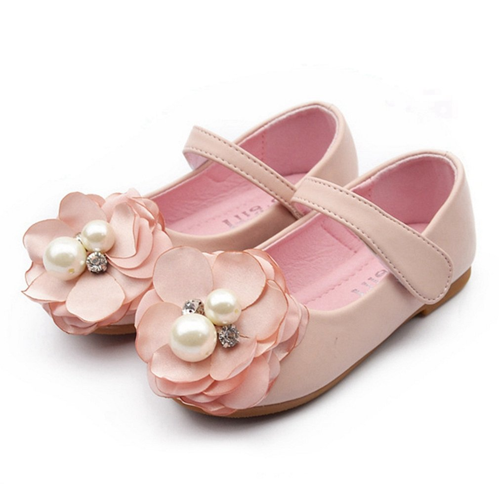 Girls Ballet Flats Pearl Flower Mary Jane Princess Dress Shoes Easy Strap (Toddler/Little Kids)