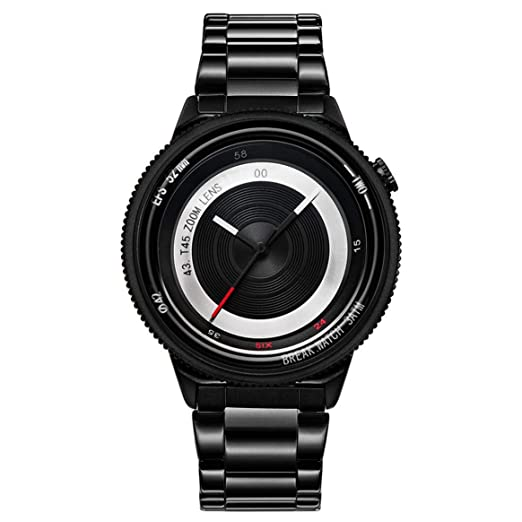 255a33922324 Break T45 Hombres de Lujo Reloj Moda Reloj Deportivo Casual Impermeable  Dial Creativo Reloj de Cuarzo Cámara Fotógrafo Reloj Fresco - Anillo Negro   ...