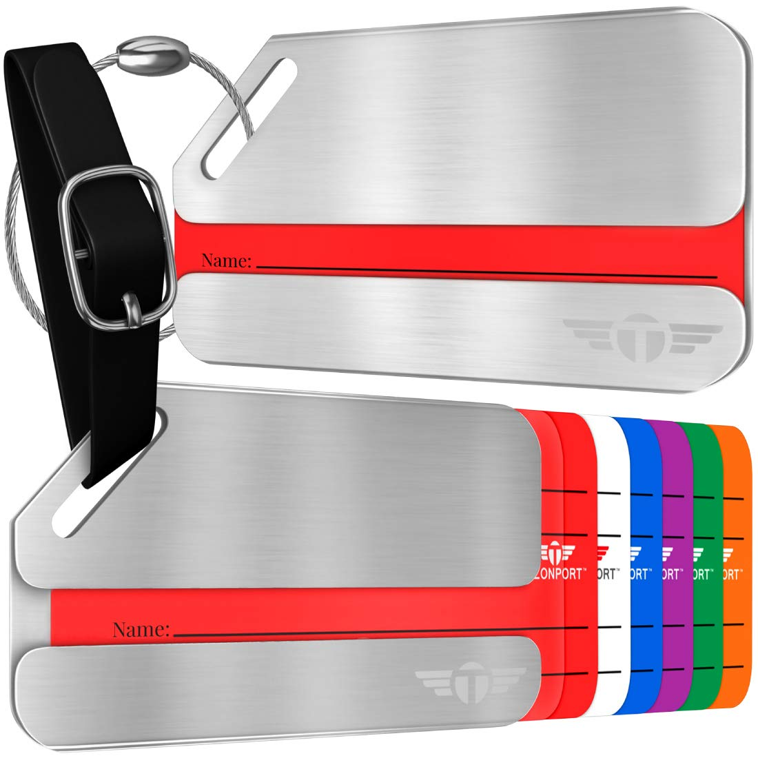 Two Privacy Luggage Tags Stainless Steel Metal ID Bag Tag With Lifetime Never Lost Guarantee by Talonport