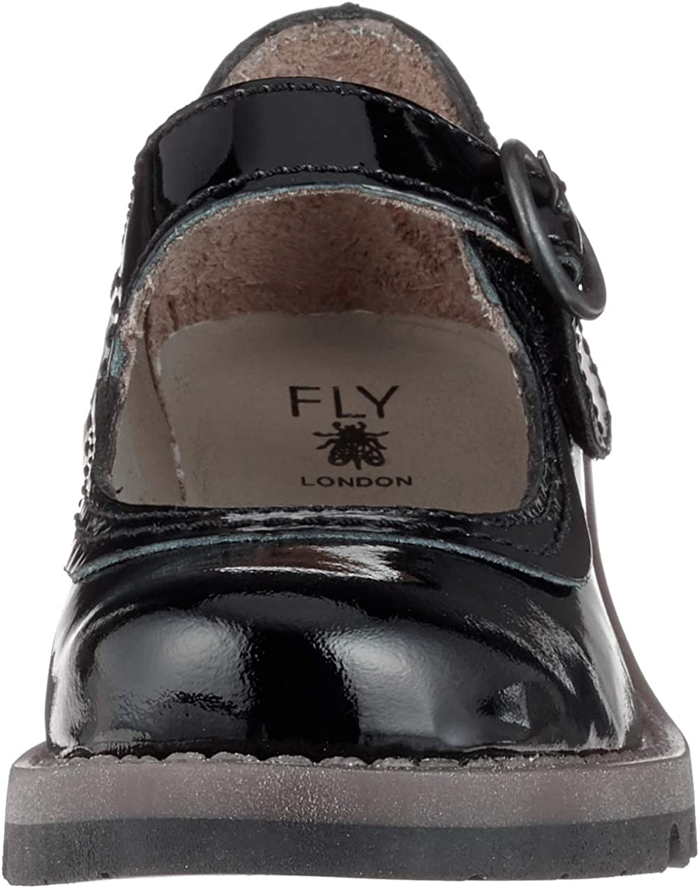 FLY London Girls Siko K Patent Leather Mary Jane Wedge Shoes Junior 6//39 Black Patent