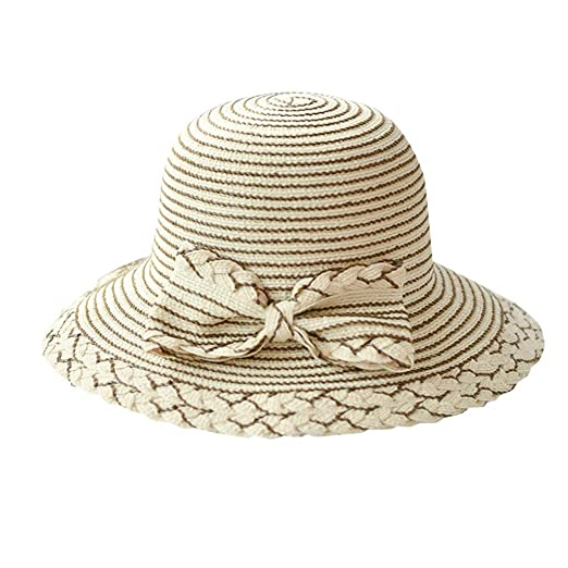 fc3773d5 Summer Beach Sun Hats-Travel Packable UV Wide Brim Hat-Floppy Foldable Bow-Knot  Straw Hat-Moisture Wicking Fabric Beige at Amazon Women's Clothing store: