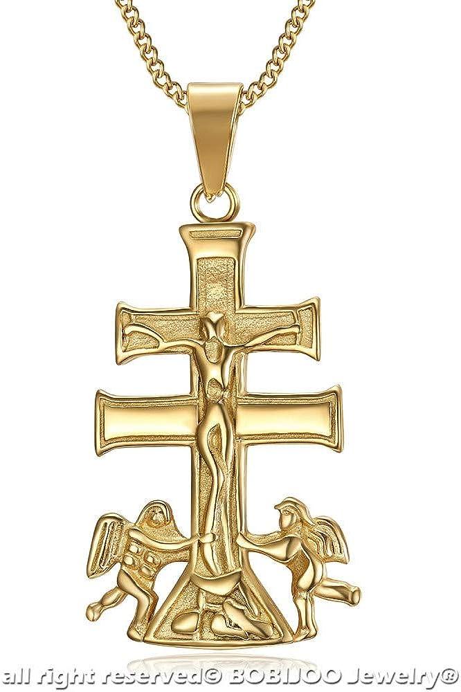 BOBIJOO JEWELRY Pendant Necklace Cross of Caravaca de la Cruz 44mm Steel Gold Plated Golden Chain
