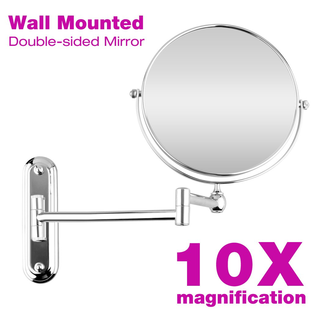 Excelvan 8 Inch Two-Sided Swivel Extension Wall Mountable Magnifying Makeup Mirror, 12 Inch Extension, Chrome Finished, (8 inch, 10X)