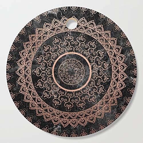 Society6 Wooden Cutting Board, Round, Mandala - rose gold and black marble by mantramandala