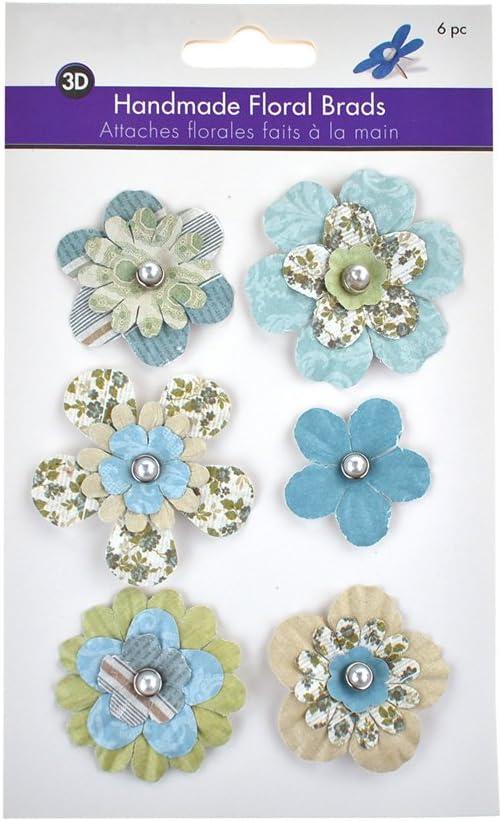 Classic 6-Piece Homeford Paper Craft Floral Brads