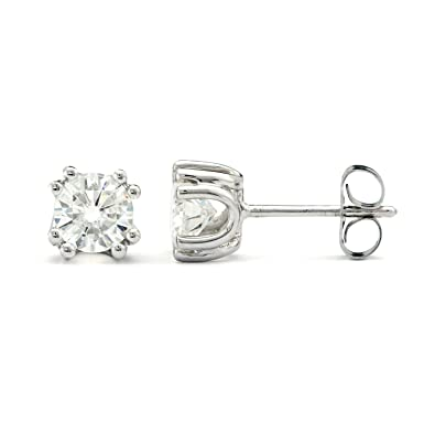 a246976ed 5.0mm Round Brilliant Cut Moissanite Sterling Silver Stud Earrings,  1.00cttw DEW by Charles