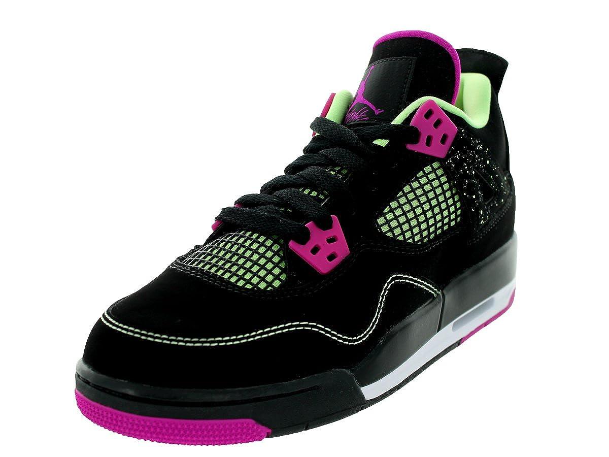 online store e18a1 cb046 Jordan Nike Kids Air 4 Retro 30th GG Black/Fushsia Flash/Lqd Lm/Wht  Basketball Shoe 5 Kids US