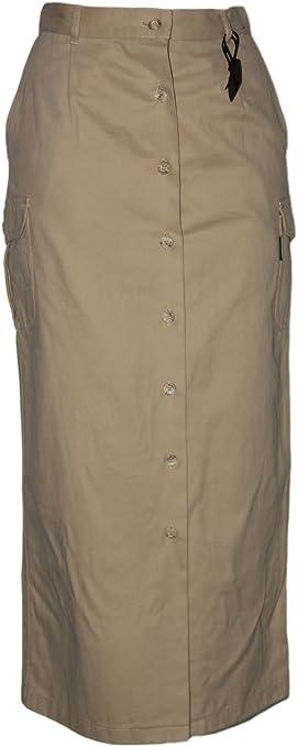 Falda larga recta de botones LE CAMELLO 40 estilo sahariana ...