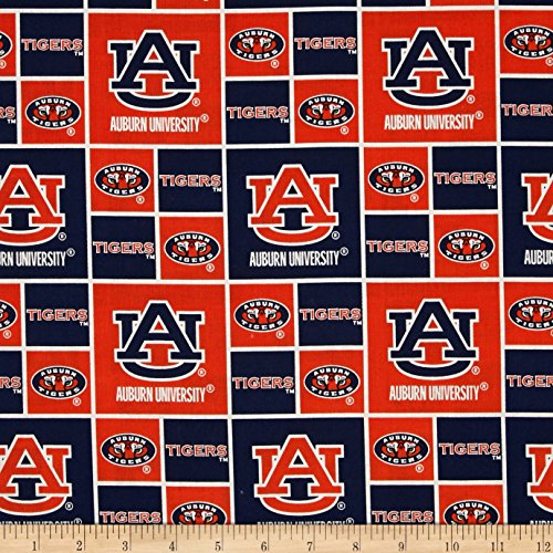 Sykel Enterprises Collegiate Cotton Broadcloth Auburn Tigers Fabric, Gold/Red/Black, Fabric By The -