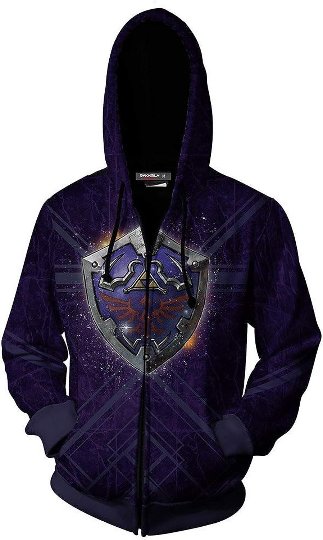 The Legend of Zelda Cosplay Costume Breath of The Wild Link Hoodie Sweatershirt Mens Halloween Zip up Coat