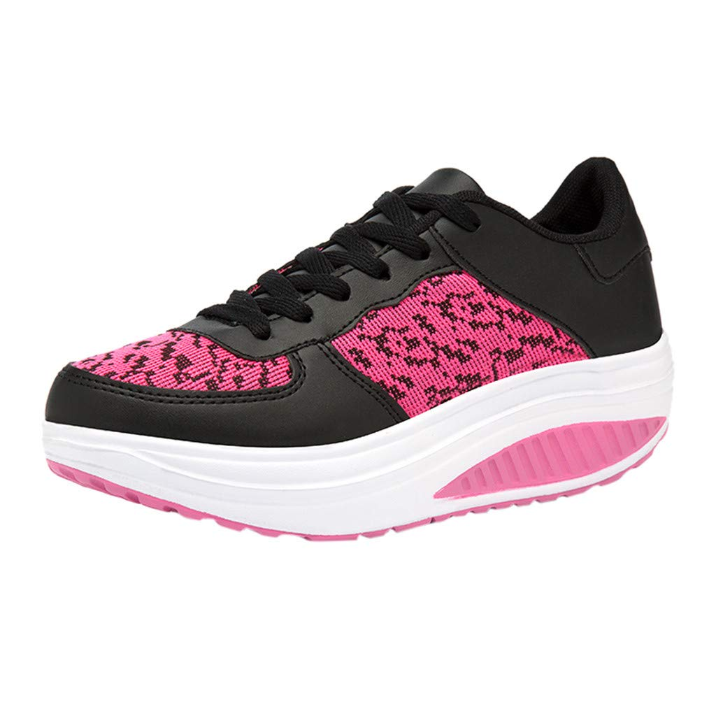 ❤SSYongxia❤ Fashion Girl Women's Platform Wedges Tennis Walking Sneakers Comfortable Lightweight Platform Shoes Hot Pink