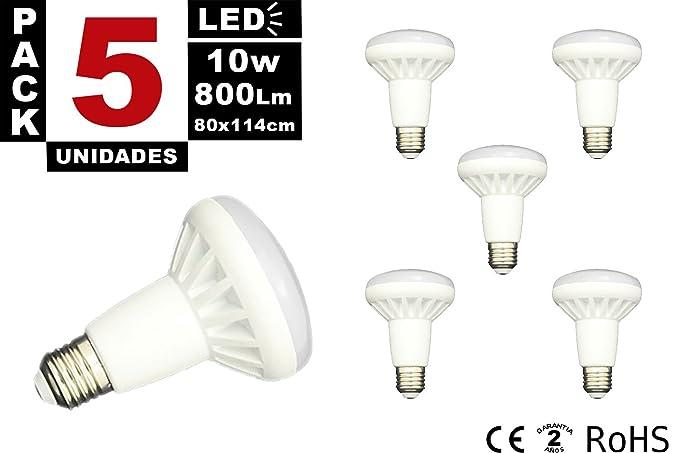Pack 5 x Bombilla Led Reflectora R-80 casquillo E27 de 10W - Luz Fría