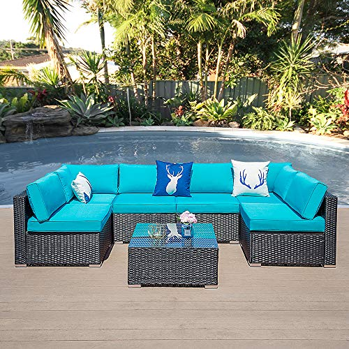 7 Piece Patio Furniture Set Outdoor Rattan All Weather Sectional Wicker Sofa Sets with Cushions