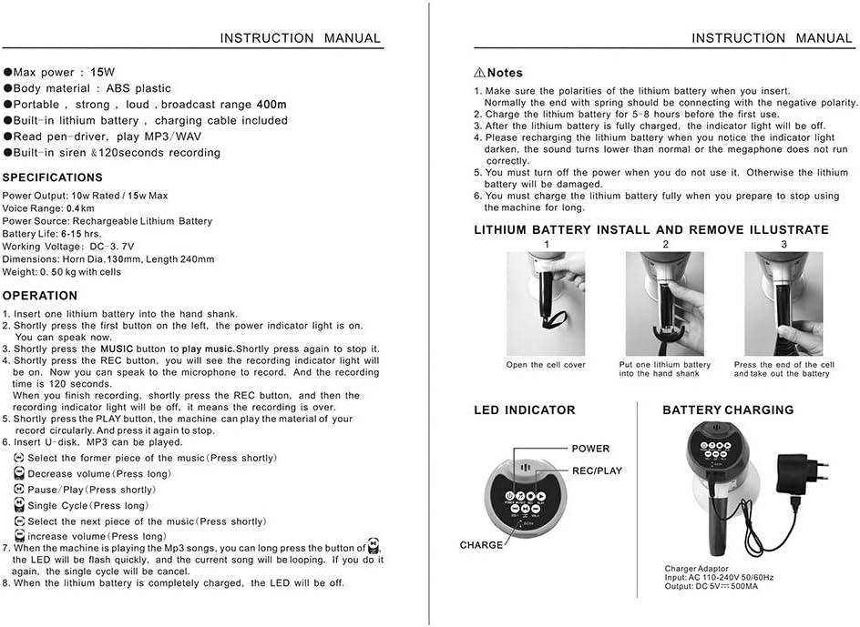Altavoz port/átil Meg/áfono de Mano Grip Altavoz Reproducci/ón de grabaci/ón con Sirena Bocina Altavoz Sirena de Alarma electr/ónica Bocina para Sistema de Seguridad para el hogar