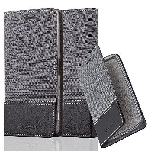 Cadorabo - Funda Estilo Book para >                          Sony Xperia X-PERFORMANCE                          < de Diseño Tela / Cuero Arificial con Tarjetero, Función de Soporte y Cierre Magnético Invisible �?Etui Case Cover Carcasa Caja Protecció GRIS-NEGRO