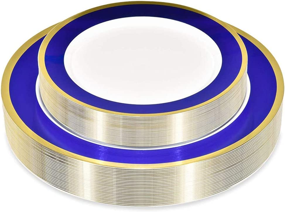 50 Piece Disposable Plates - Heavy Duty Plastic Dinnerware for Wedding Birthday Party Holiday Baby Shower - Includes 25 Dinner Plates and 25 Dessert Plates (Blue and Gold)