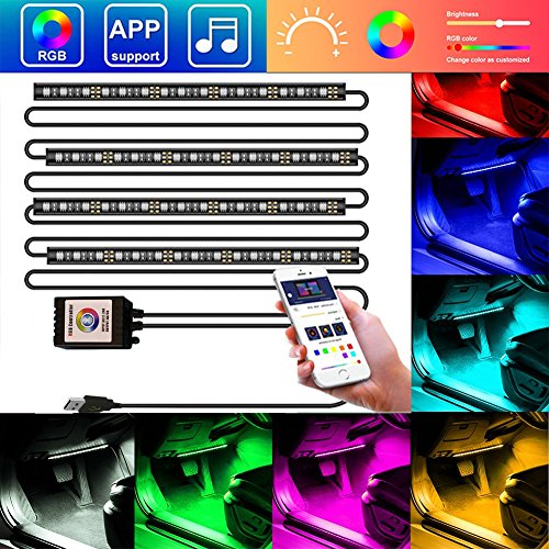 E-LOVER Interiors Cars Lights, Bluetooth App Multicolor Cars LED Lights as Interior Cars Accessories Under Dash Lighting Kit with Sound Active Function(USB Plug/12VDC)
