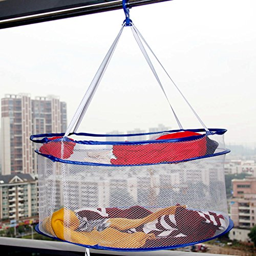 Folding Drying Rack Double Hanging Clothes Laundry Hangers Dryer Net with S-shaped Hook Prevent Mosquitoes and Prevent Clothes Deformation (S Shaped Fruit Holder)