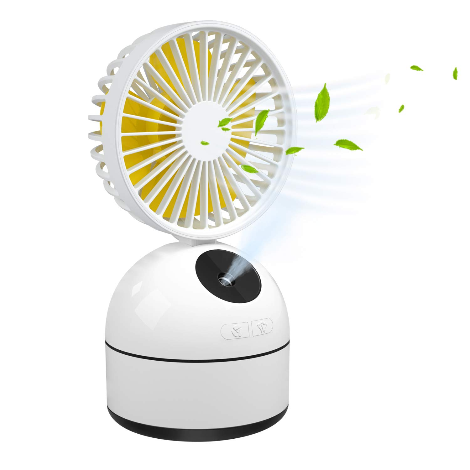 Dillitop Humidifier Misting Fan, Portable Mini Personal Humidification Fan with USB Rechargeable Battery Operated Water Spray Desk Small Humidifier for Home/Office/Camping/Outdoors/Travel