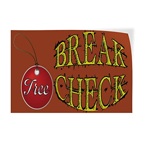 14inx10in Set of 10 Decal Sticker Multiple Sizes Break Check Free Automotive Free Brake Check Outdoor Store Sign Brown
