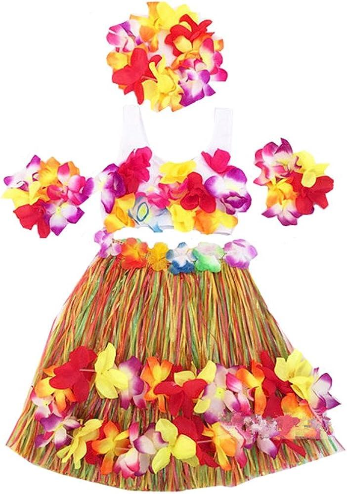 Hawaiian Grass Hula Skirt Luau Lei /& Hawaiian Hula Flower Garland Bundle Short