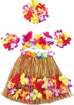 Amazon.com: Conjunto de disfraz de hawaiana con falda de ...