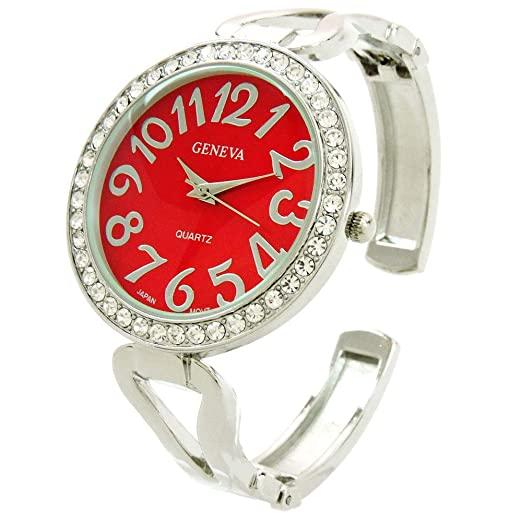 Reloj de Pulsera para Mujer con Bisel de Cristal Plateado y Rojo, Esfera Grande, fácil de Leer: Amazon.es: Relojes