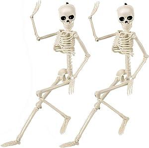 Halloween Skeletons Decorations Full Body Posable Joints 15'' Skeletons 2 Pack