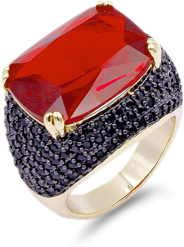 Lavencious Luxury Square Ruby Black Cocktail Fashion Trendy Ring Size 6-12 Cubic Zirconia Jewelry