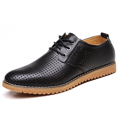 11787b861309 ChicWind Men's Breathable Leather Casual Shoes Lace Up Oxfords Dress Shoes  Brown