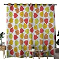NUOMANAN Bedroom Curtains Leaf,Vibrant Colored Fall Leaves Autumn Season Inspired Foliage Nature Theme Art Pattern, Multicolor,Thermal Insulated Room Darkening Window Shade