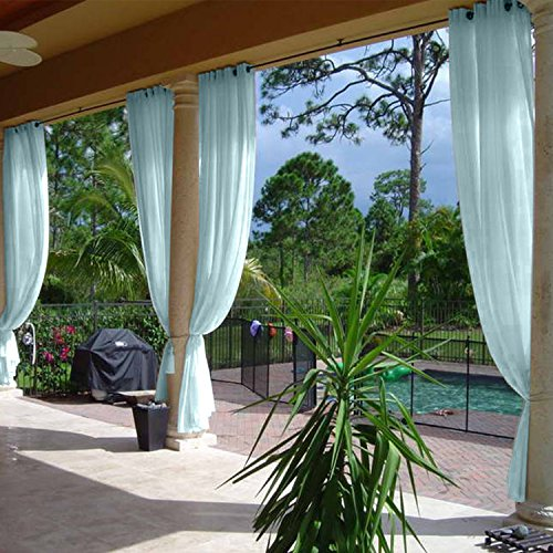 cololeaf Indoor Outdoor Sheer Curtain Patio| Porch| Gazebo| Pergola | Cabana | Dock| Beach Home| Backyard| Country| Garden| Wedding - Nickle Grommet - Sky Blue 52'' W x 96'' L (1 Panel) by cololeaf