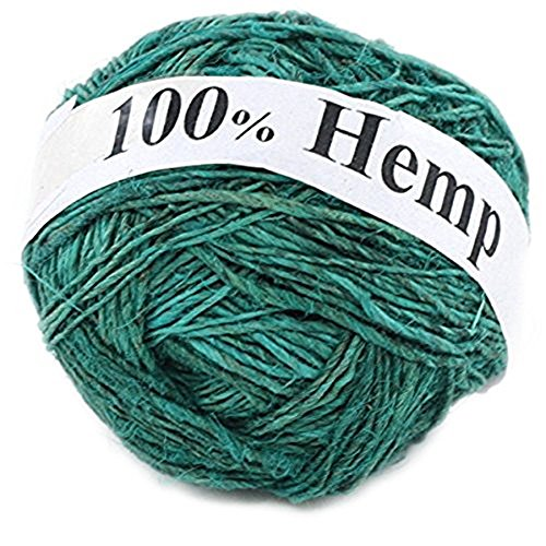 Darn Good Yarn Single Ply Sport Weight Hemp Yarn from Nepal - Natural Organic Handmade Vegan Yarn - Sweet Teal Color, 100g Ball, 150 (Knitters Yarn Palette)