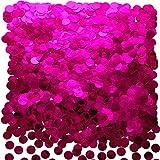 Hot Pink Foil Metallic Round Table Confetti Decor