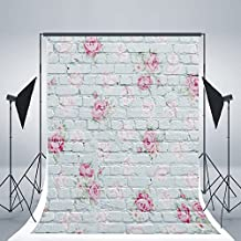 OMG_Shop 3x5ft Vinyl Photo Backdrop Printed Photography Backgrounds Brick Wall Photography Backdrop-Pink Flower