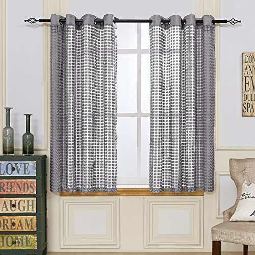 Fassbel Lace Sheer Curtains Polyester Fabric Room Divider Strip Tassel Screen Partition Curtains For Weeding Party Restaurant Bedroom Home Decoration Doorway Curtains (54