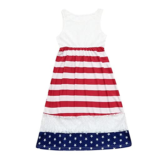 a381f60e9d6 Amazon.com  Creazrise Baby Girls Sleeveless American Flag Dress 4th of July  Stars Striped Lace Sundress 10T  Clothing