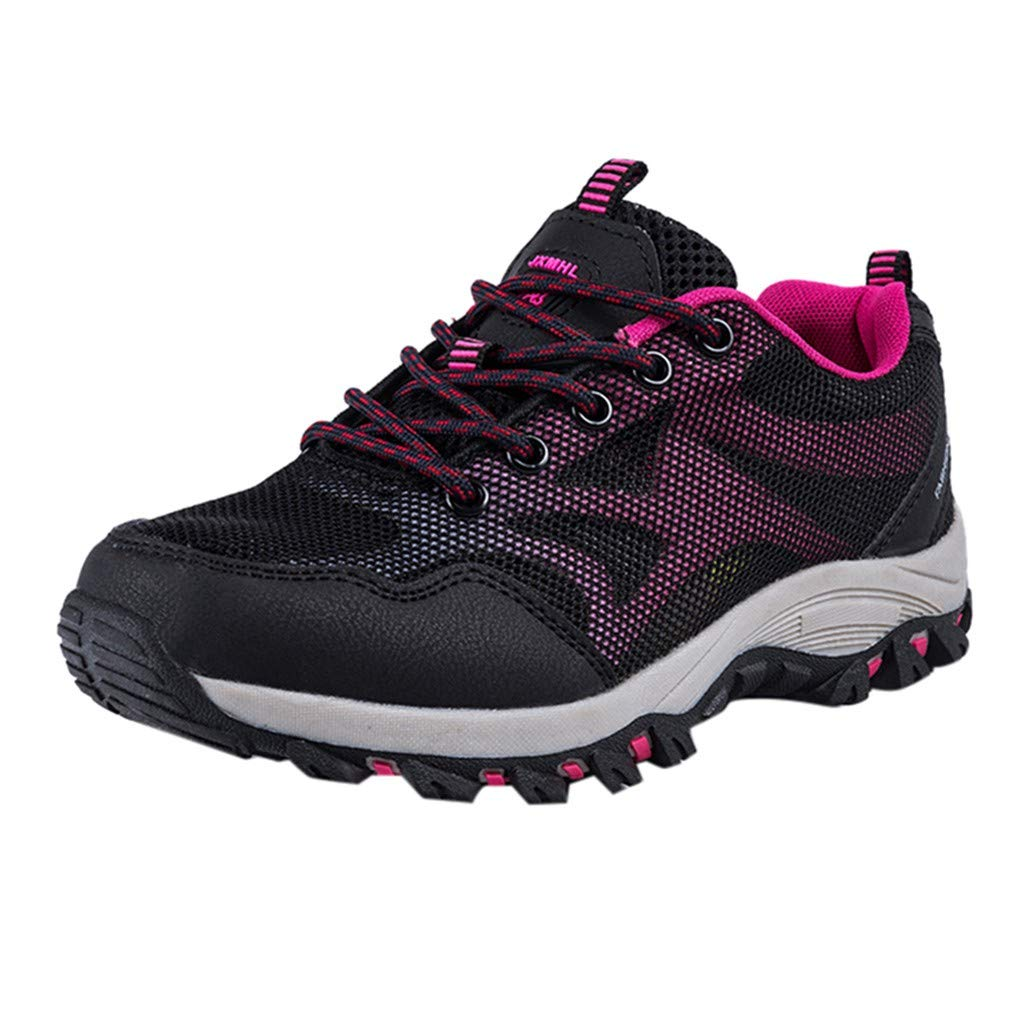 Couple Hiking Shoes,Mosunx Athletic 【Non-Slip Arch Support Breatnable】Mesh Lace Up Fashion Outdoor Sneakers-Trail Running Shoes for Men Women Boys Girls (7.5 M US, Hot Pink)
